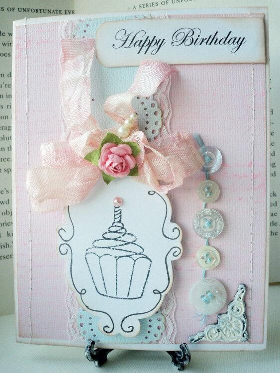 Vintage and Pastel Cupcake Challenge Card