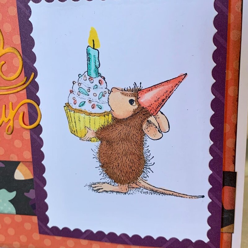 Happy Birthday House Mouse with cupcake