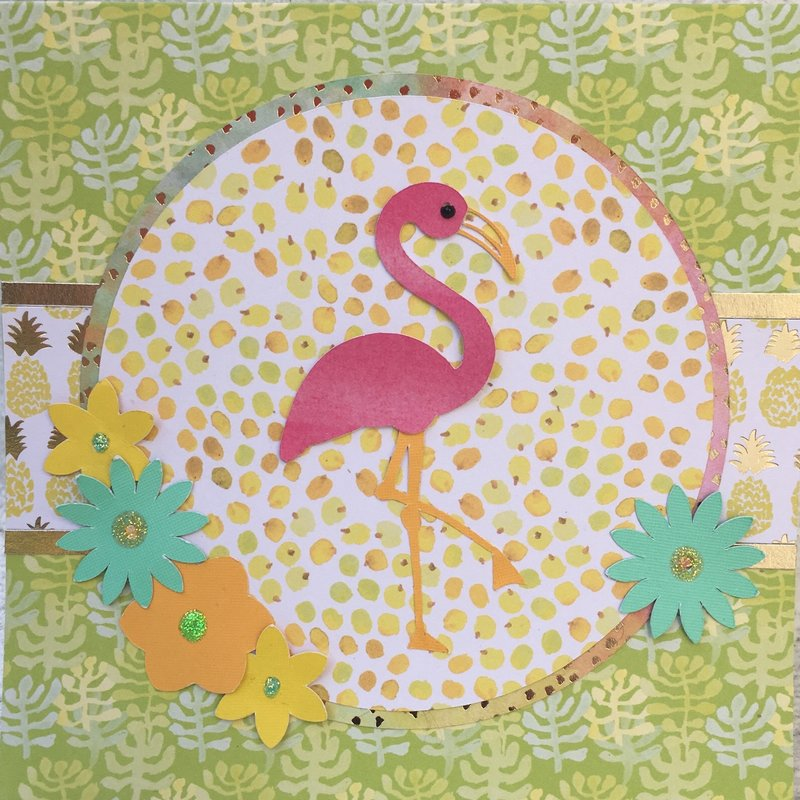 Die Cuts with a View Flamingo Card