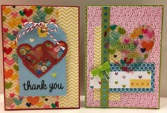 Multicolored hearts cards