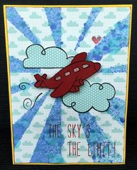 Lawn Fawn Graduate Card: Sky's the Limit Airplane