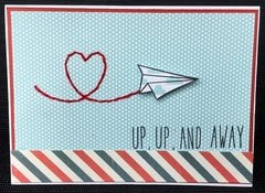 Lawn Fawn Graduate Card: Up and Away Stitched Heart