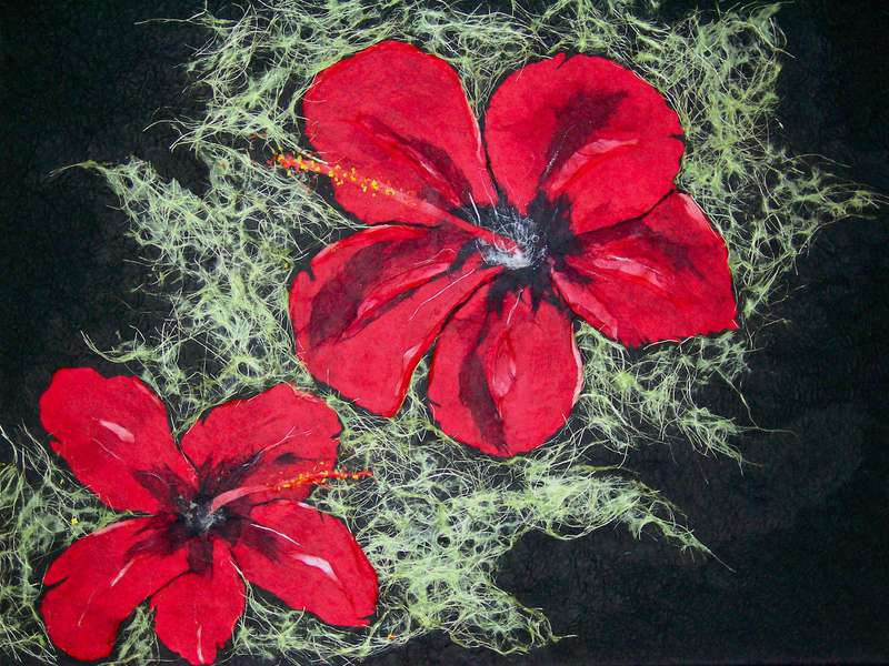 """18""""X24"""" ON CANVAS- RED HIBISCUS ON GREEN"""