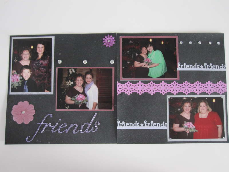 2 page layout of wedding guests friends
