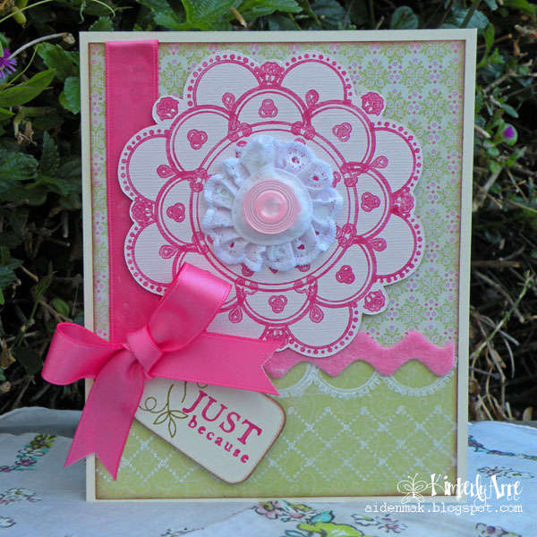 """Doily Card """"Just Because"""""""