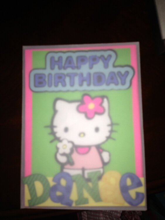 my godaughters bday card