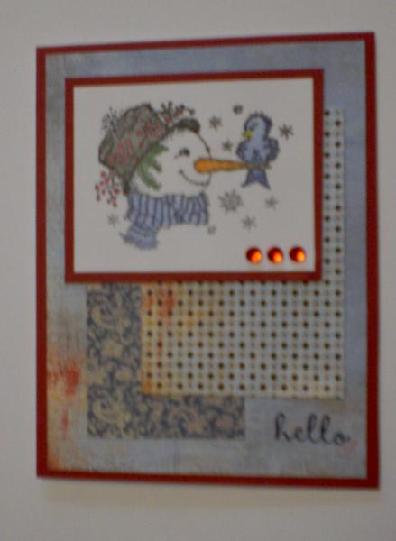 """Snowman """"Hello"""" Card for OWH"""