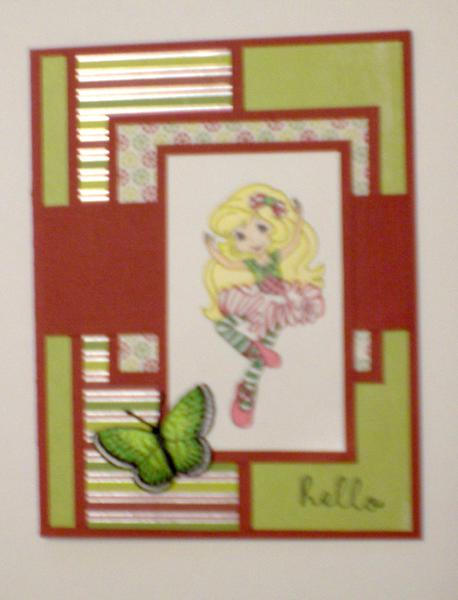 "Strawberry Girl Ballerina ""Hello"" Card for OWH"