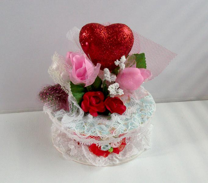 Valentines Heart & Roses Altered Ribbon Spool