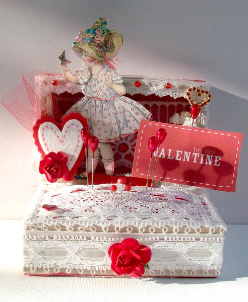 Valentines Altered Wood (Pin Cushion)Box
