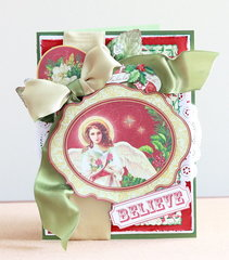 Angel Believe shabby chic layered Christmas card
