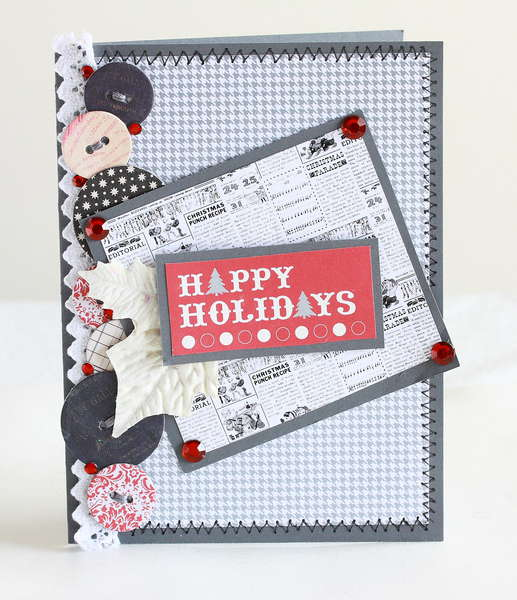 Grey and red Happy Holidays Christmas card