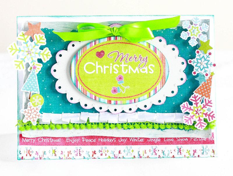 Vibrantly coloured Merry Christmas card