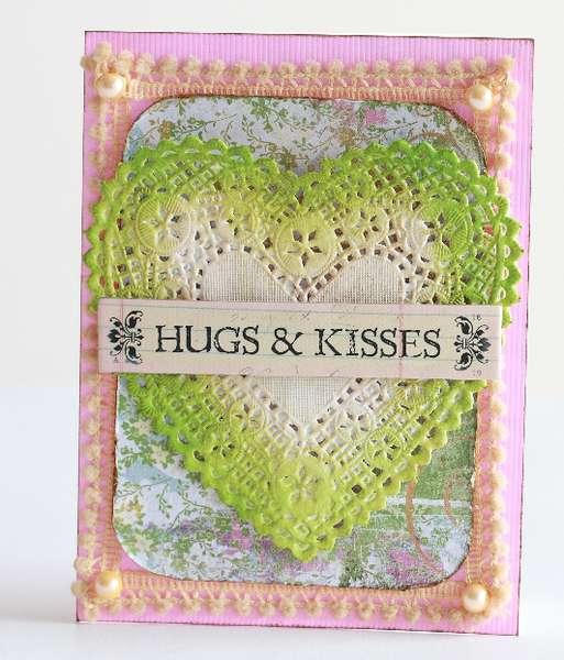 Hugs & kisses doily heart Valentine's Day Card