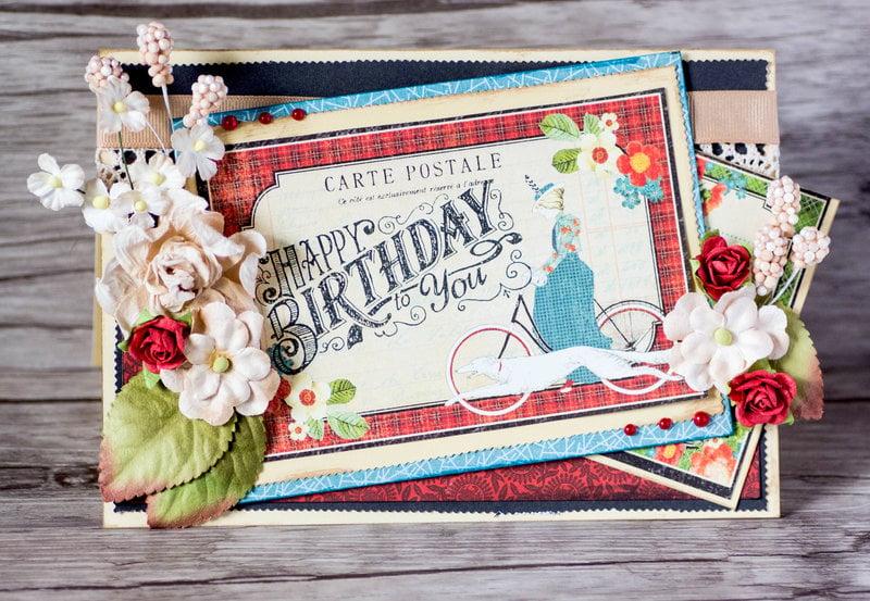 Vintage inspired layered Happy Birthday card