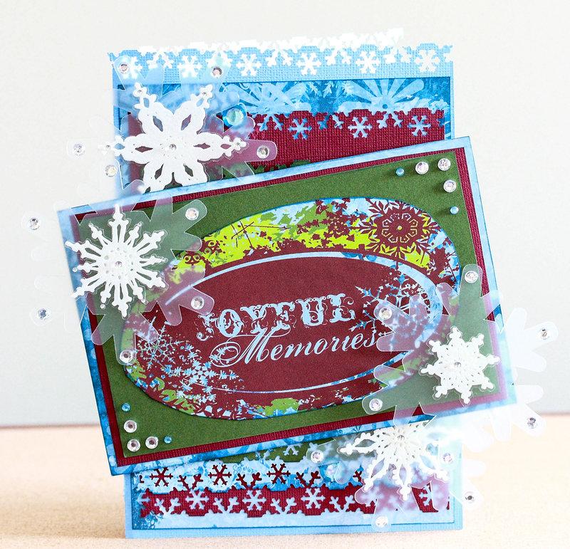 Joyful Memories snowflake filled Christmas card