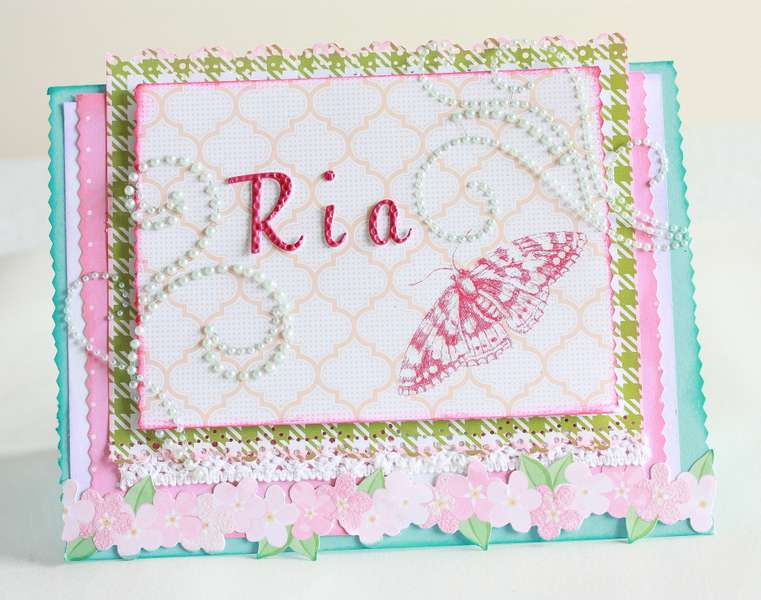 """Pink butterfly """"Ria"""" card"""