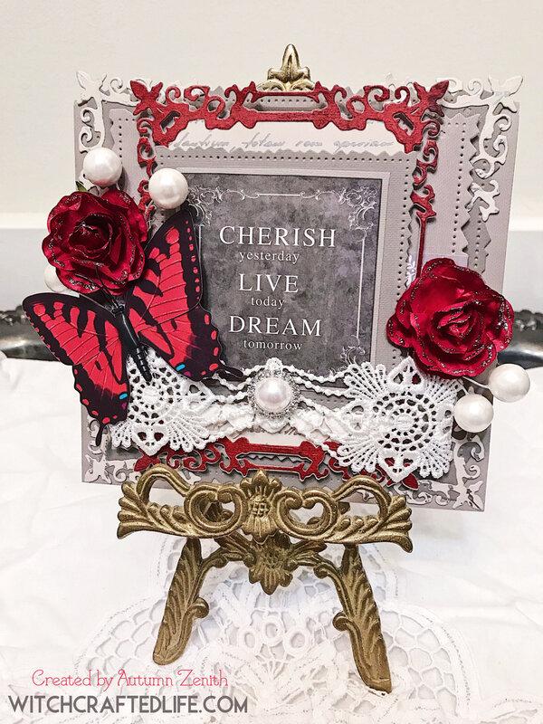 Cherish Live Dream layered die cut card