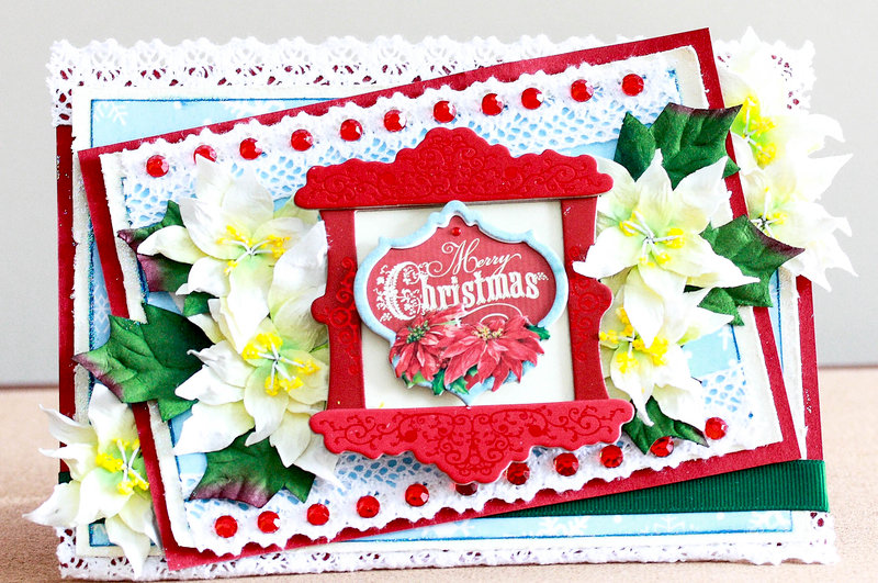 Poinsettia filled Christmas card