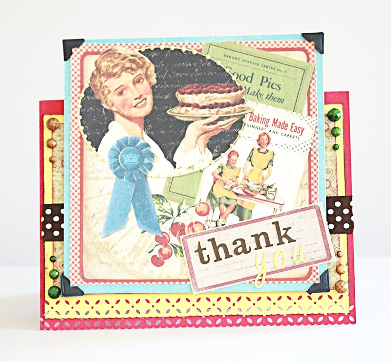 Vintage themed cherry pie thank you card