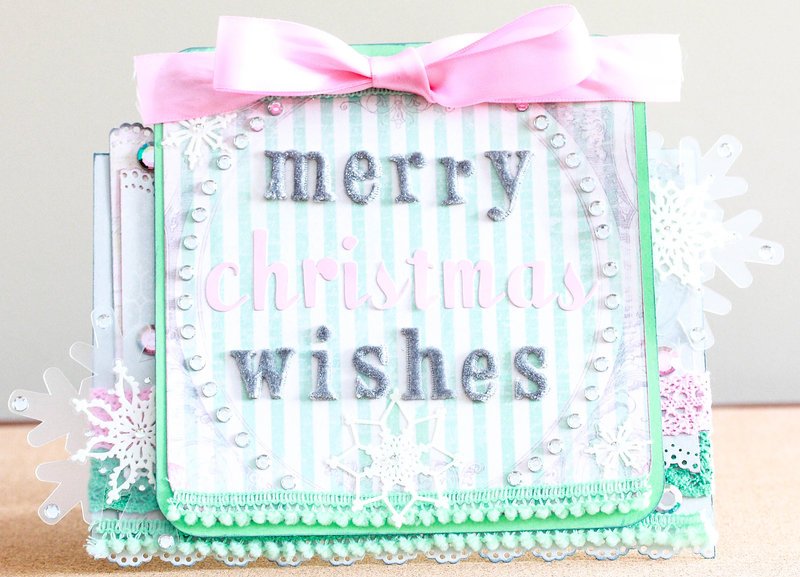 Pastel hued Merry Christmas Wishes card