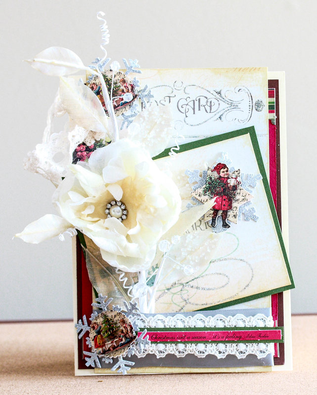 Victorian inspired shabby chic layered Christmas card