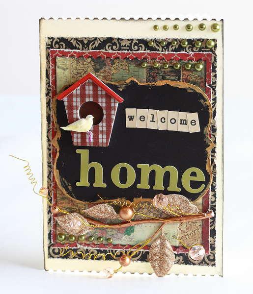 Welcome home birdhouse card