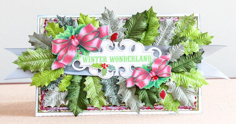 Winder Wonderland holly leaf filled Christmas card