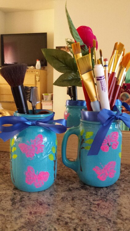 Manson jars make up brushes holders
