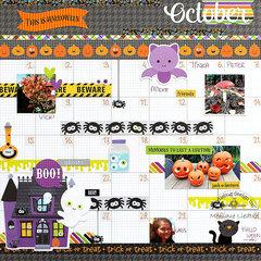 Boos & Brews October Calendar Layout - Doodlebug