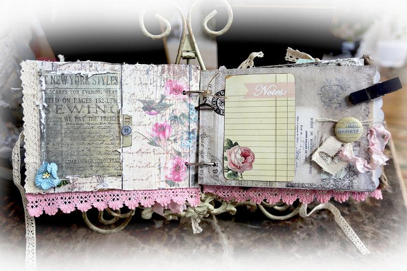Sew Shabby Chic Mini Album *Scraps Of Darkness* August Kit~Weathered & Worn