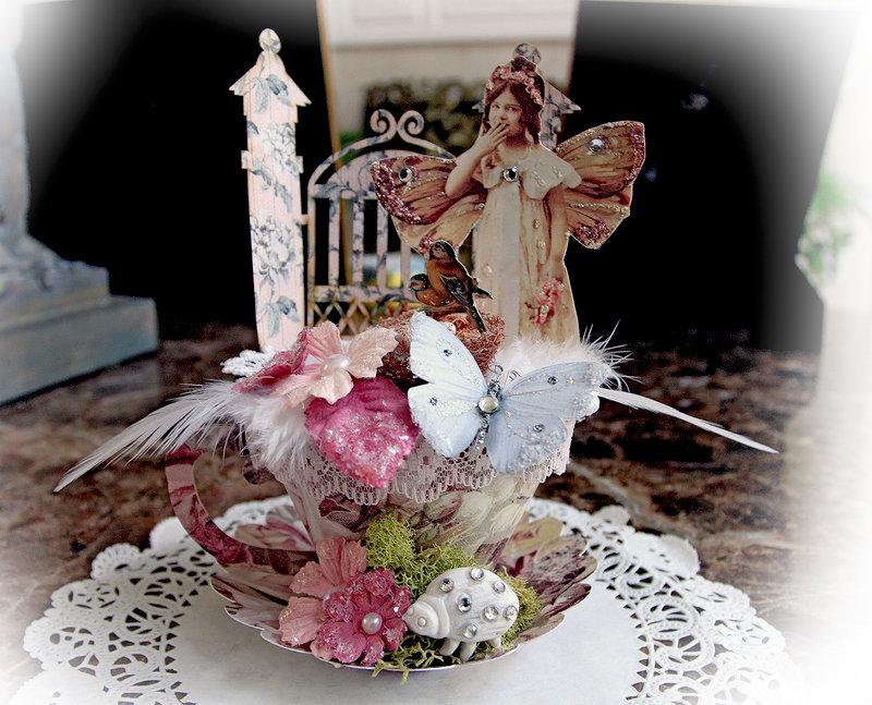 Miniature 3D Fairy Tea Cup *Scraps of Elegance* *Reneabouquets*