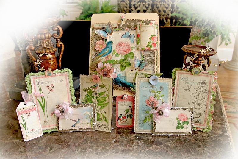 Hello Friend Tag Pocket Album *Scraps Of Elegance* March Kit~Floral Fantasy