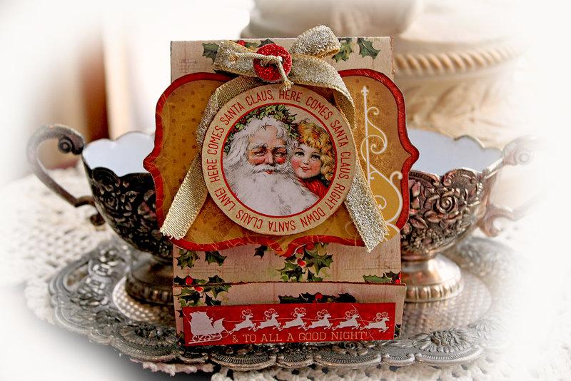 Make It In Minutes~Matchbook Gift Card Holder *Scraps Of Elegance* December Kit~Mistletoe Memories