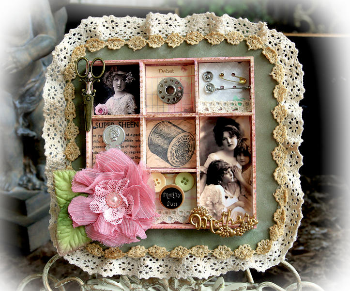 Mother's Sewing Box Top View **SCRAPS OF DARKNESS** MARCH KIT-DAY GLO