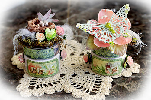 Spring's Promise Altered Jars  **SCRAPS OF ELEGANCE** March Kit-Spring's Promise