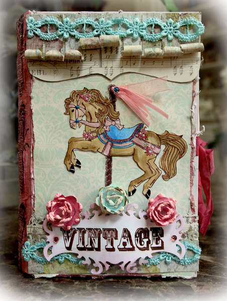 Carousel Horse Mini Altered Book Box *The Rubber Cafe* **SCRAPS OF ELEGANCE**