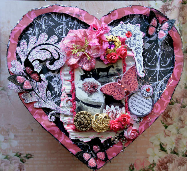 Altered Valentine Box **Berry Bleu Pages And Tags** **SCRAPS OF DARKNESS**