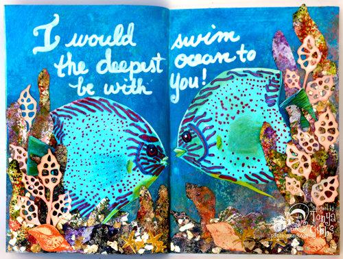 Mixed Media Art Journal page - Kissing Fish