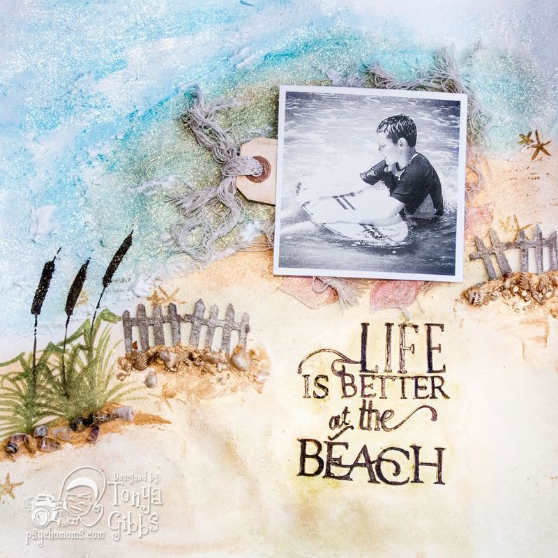 Mixed Media Layout - Life at the Beach