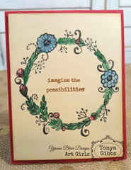 Hand Drawn Doodle Wreath Card