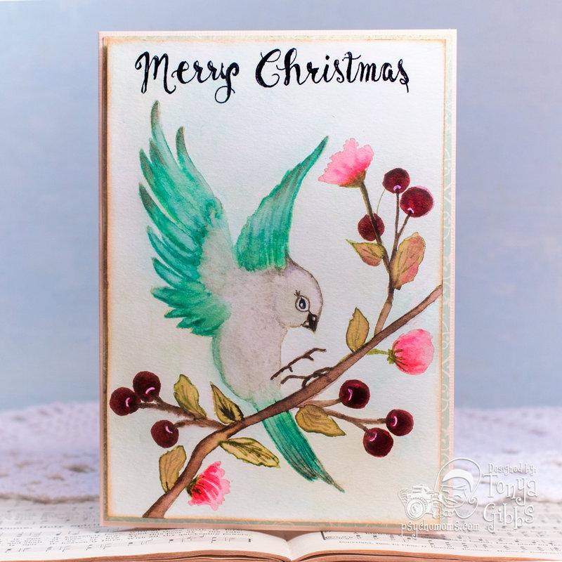 Prima Bloom Bird Watercolor Card