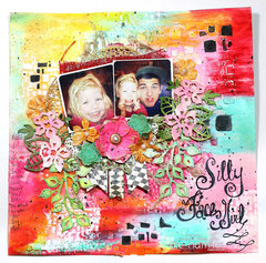 Silly Face Girl Mixed Media Layout.