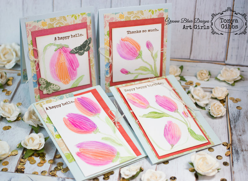 Watercolor Cards - 4 cards 1 stampset
