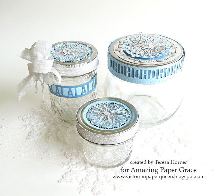 Glistening Snowflake jars for the holidays