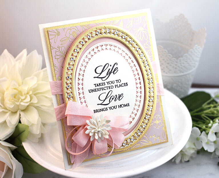 Pretty in pink card made with Candlewick Ovals
