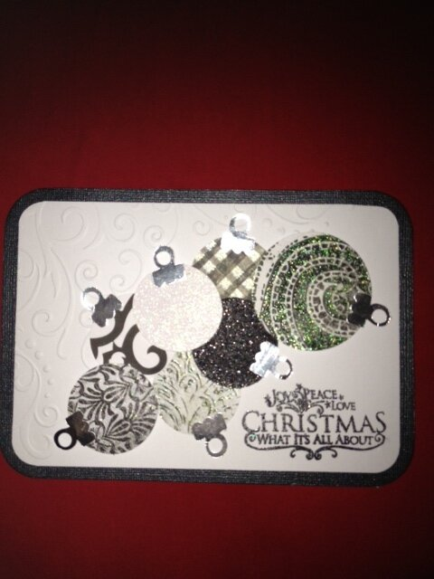 2012 Xmas black and white baubles card