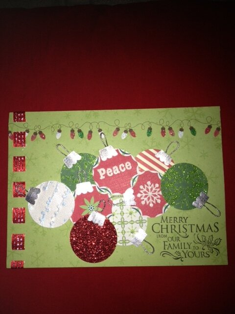 2012 Xmas red-green baubles card