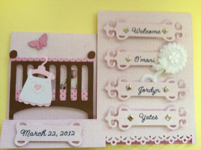 Baby girl dresser card