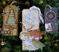 Christmas Ornament Tags for the Leaky Shed Studio/BoBunny Product Swap
